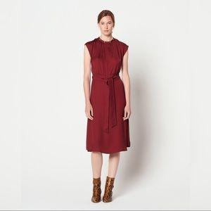 Sandro Conique High Collar Midi Dress
